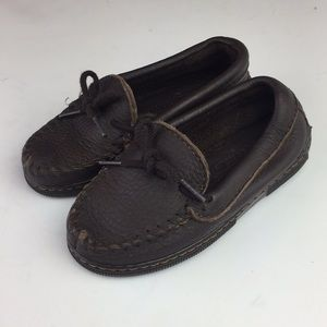 Minnetonka Moccasins Brown Leather Shoes Slip On